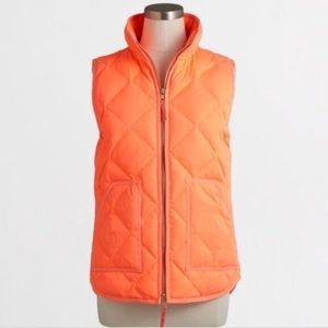 J Crew Orange Down Quilted Puffer Vest S